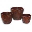 Hnědé keramické květináče sada 3 ks