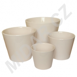 Bílé keramické květináče sada 4 ks